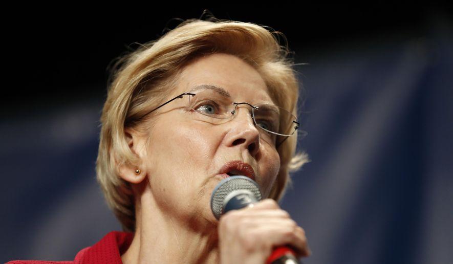 In this June 9, 2019, file photo, Democratic presidential candidate Elizabeth Warren speaks during the Iowa Democratic Party's Hall of Fame Celebration in Cedar Rapids, Iowa. (AP Photo/Charlie Neibergall, File)