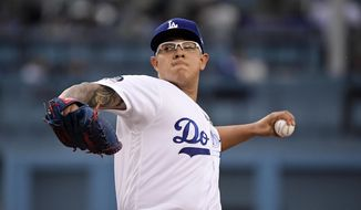 Los Angeles Dodgers starting pitcher Julio Urias throws during the first inning of the team's baseball game against the San Francisco Giants on Thursday, June 20, 2019, in Los Angeles. (AP Photo/Mark J. Terrill)