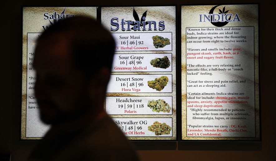 In this July 30, 2018, photo, screens display different strains of marijuana at a dispensary in Las Vegas. Nevada's marijuana enforcement chief says mistakes may have been made by temporary workers evaluating applications for dispensary licenses, but the process was fair. (AP Photo/John Locher)