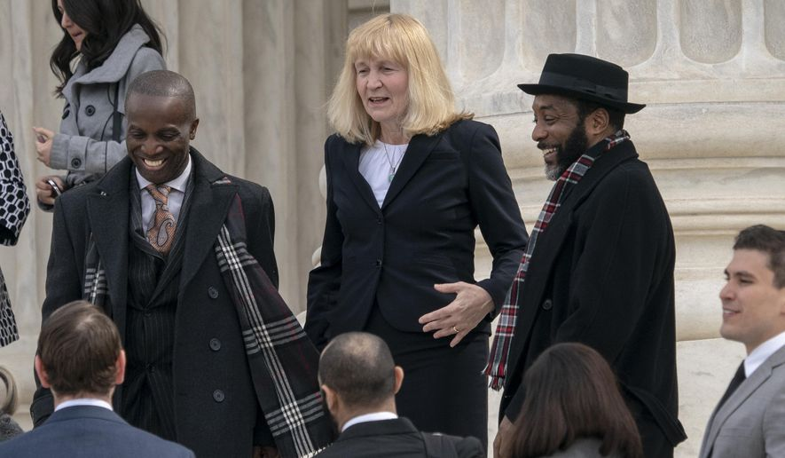 In this March 20, 2019 file photo, Attorney Sheri Johnson leaves the Supreme Court after challenging a Mississippi prosecutor's decision to keep African-Americans off the jury in the trial of Curtis Flowers, in Washington. The Supreme Court is throwing out the murder conviction and death sentence for Flowers because of a prosecutor's efforts to keep African Americans off the jury. The defendant already has been tried six times and now could face a seventh trial. The court's 7-2 decision Friday says the removal of black prospective jurors violated the rights of inmate Curtis Flowers. (AP Photo/J. Scott Applewhite) **FILE**