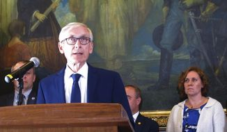 Wisconsin Democratic Gov. Tony Evers is shown at a news conference in this June 20, 2019 file photo. (AP Photo/Scott Bauer, File) **FILE**