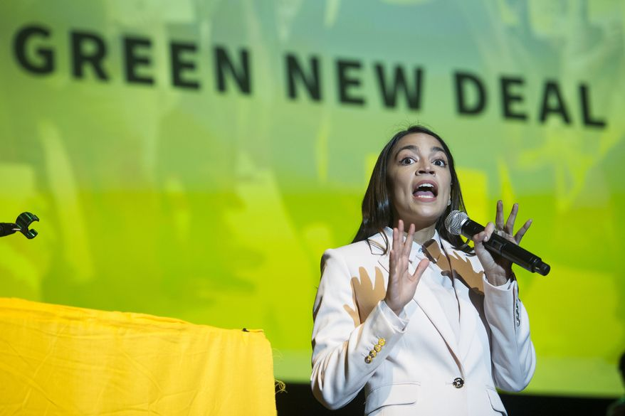Rep. Alexandria Ocasio-Cortez, D-N.Y., addresses the Road to the Green New Deal Tour final event at Howard University in Washington, Monday, May 13, 2019. (AP Photo/Cliff Owen) ** FILE **