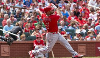 Los Angeles Angels' Albert Pujols hits a home run during seventh inning of a baseball game against the St. Louis Cardinals, Saturday, June 22, 2019, in St. Louis. (AP Photo/L.G. Patterson)