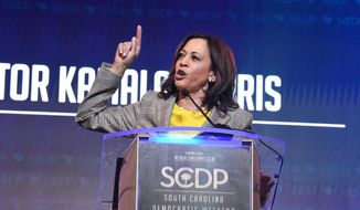 California Sen. Kamala Harris addresses the South Carolina Democratic Party's convention on Saturday, June 22, 2019, in Columbia, S.C. (AP Photo/Meg Kinnard)