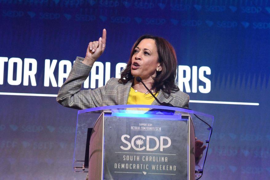 California Sen. Kamala Harris addresses the South Carolina Democratic Party's convention on Saturday, June 22, 2019, in Columbia, S.C. (AP Photo/Meg Kinnard)