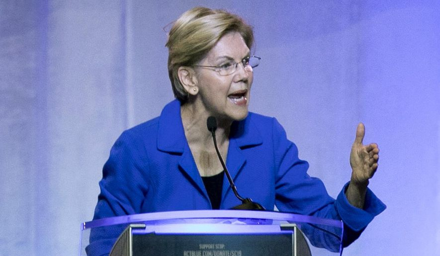 Democratic presidential candidate Elizabeth Warren speaks during the South Carolina Democratic Convention, Saturday, June 22, 2019 in Columbia, S.C.. (AP Photo/Meg Kinnard) ** FILE **