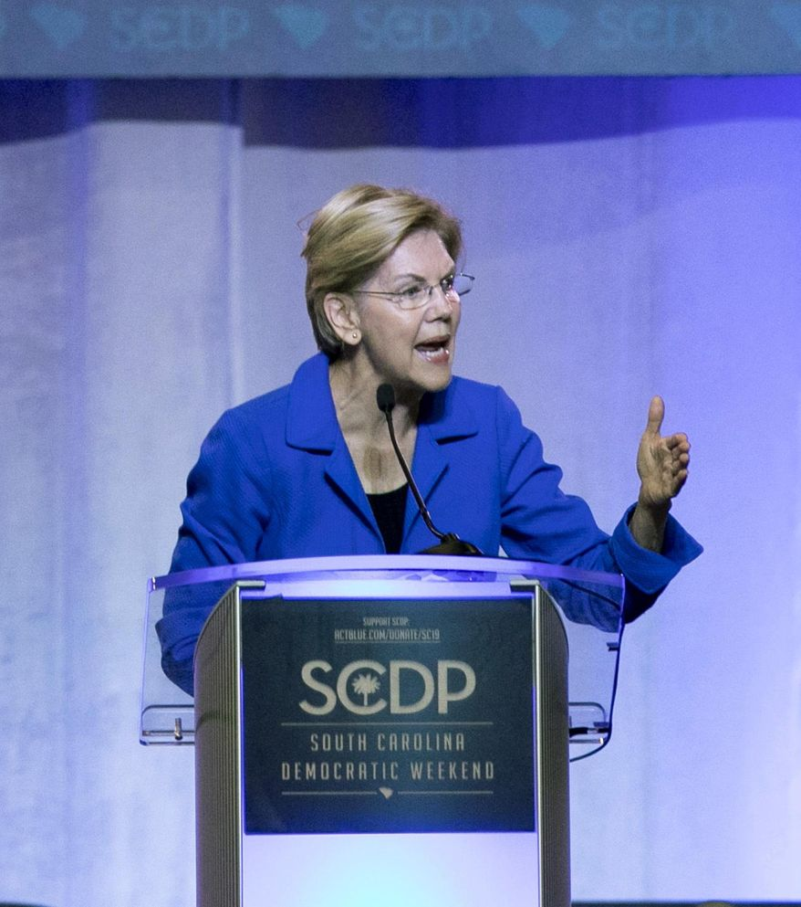 Democratic presidential candidate Elizabeth Warren speaks during the South Carolina Democratic Convention, Saturday, June 22, 2019 in Columbia, S.C.. (AP Photo/Meg Kinnard) ** FILE **