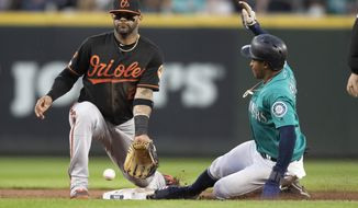 Seattle Mariners' Mallex Smith, right, steals second base in front of Baltimore Orioles shortstop Jonathan Villar during the fifth inning of a baseball game Friday, June 21, 2019, in Seattle. (AP Photo/Stephen Brashear)