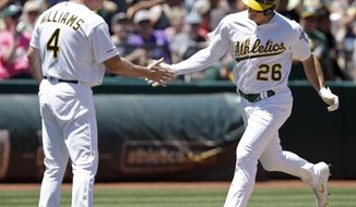 Oakland Athletics' Matt Chapman, right, is congratulated by third base coach Matt Williams (4) after hitting a home run off Tampa Bay Rays' Yonny Chirinos during the third inning of a baseball game Saturday, June 22, 2019, in Oakland, Calif. (AP Photo/Ben Margot)
