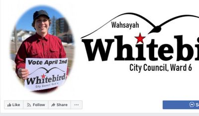 Wahsayah Whitebird won election to the Ashland, Wisconsin, city council in a nonpartisan election in April 2019. He is depicted here in a screen capture from the official Facebook page for his city council campaign. Mr. Whitebird, a card-carrying member of the Communist Party USA, was interviewed by The Washington Times at the CPUSA's 2019 conference held in Chicago, Ill. (Facebook)