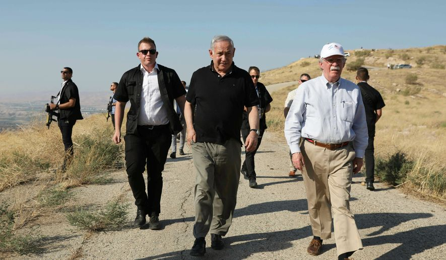 U.S. National Security Advisor John R. Bolton (right) arrived in Israel on Saturday and met with Israeli Prime Minister Benjamin Netanyahu on Sunday. (Associated Press)