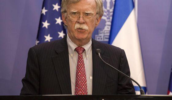 U.S. National Security Advisor John Bolton gives statements to media in Jerusalem, Sunday, June 23, 2019. (AP Photo/Tsafrir Abayov, Pool)