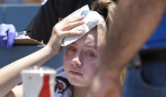 A young fan holds ice to her head after being hit with a foul ball hit by Los Angeles Dodgers' Cody Bellinger during the first inning of a baseball game against the Colorado Rockies, Sunday, June 23, 2019, in Los Angeles. (AP Photo/Mark J. Terrill) ** FILE **