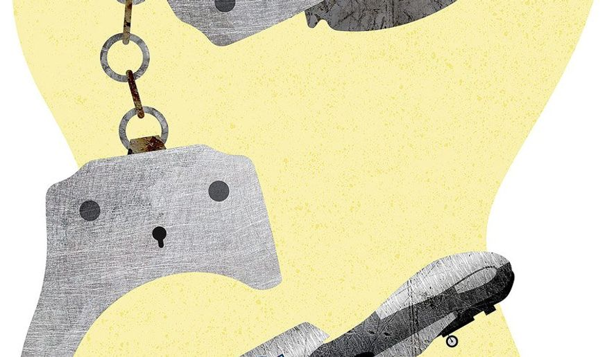 Handcuffed Illustration by Greg Groesch/The Washington Times