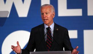 In this June 6, 2019, photo, Democratic presidential candidate former Vice President Joe Biden speaks in Atlanta. (AP Photo/John Bazemore) **FILE**