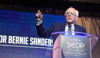 Vermont Sen. Bernie Sanders addresses the crowd during the South Carolina Democratic Convention on Saturday, June 22, 2019, in S.C. (AP Photo/Meg Kinnard) **FILE**