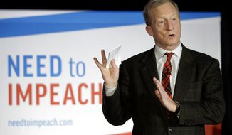 """FILE - In this March 13, 2019, photo, billionaire investor and Democratic activist Tom Steyer speaks during a """"Need to Impeach"""" town hall event in Agawam, Mass.  Steyer announced Monday, June 24 that he will put $1 million toward registering millennial voters in Virginia. Steyer's liberal advocacy group, NextGen America, will engage young voters in Republican-held districts in the hopes of flipping the Republican-led General Assembly to the Democrats in November.  (AP Photo/Steven Senne, File)"""
