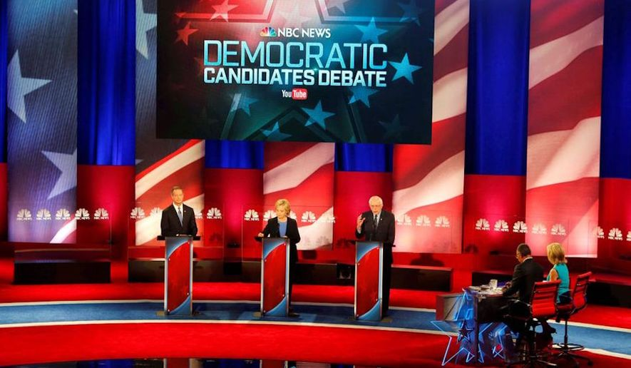 Democratic presidential debates begin Wednesday without too much emotion among voters, says a new AP poll; the stage from the 2016 election is shown here. (AP Photo)