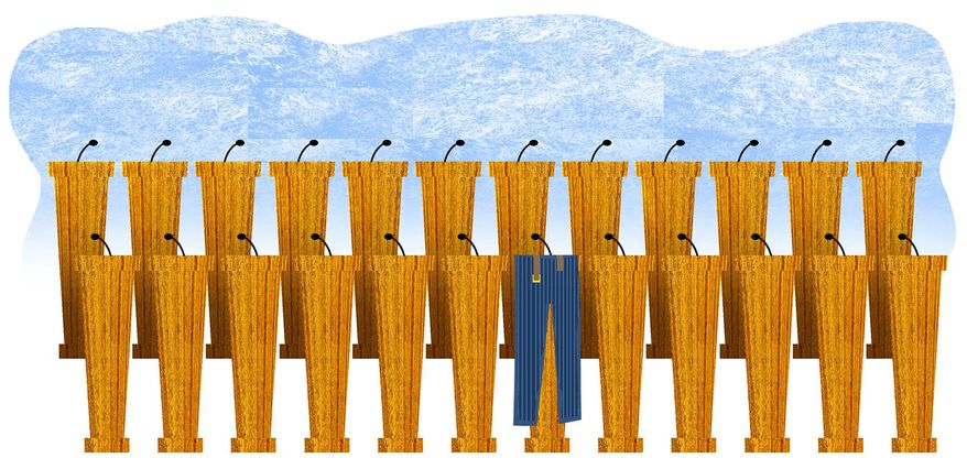 Illustration on a breakout moment in the Democratic party debates by Alexander Hunter/The Washington Times