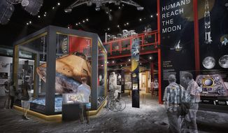 "This digital rendering shows what the National Air and Space Museum's moon exploration exhibit, ""Destination Moon,"" will look like after opening in 2022. This new exhibit will update and replace the 1976 ""Apollo to the Moon"" display, which closed last year. (Smithsonian National Air and Space Museum)"