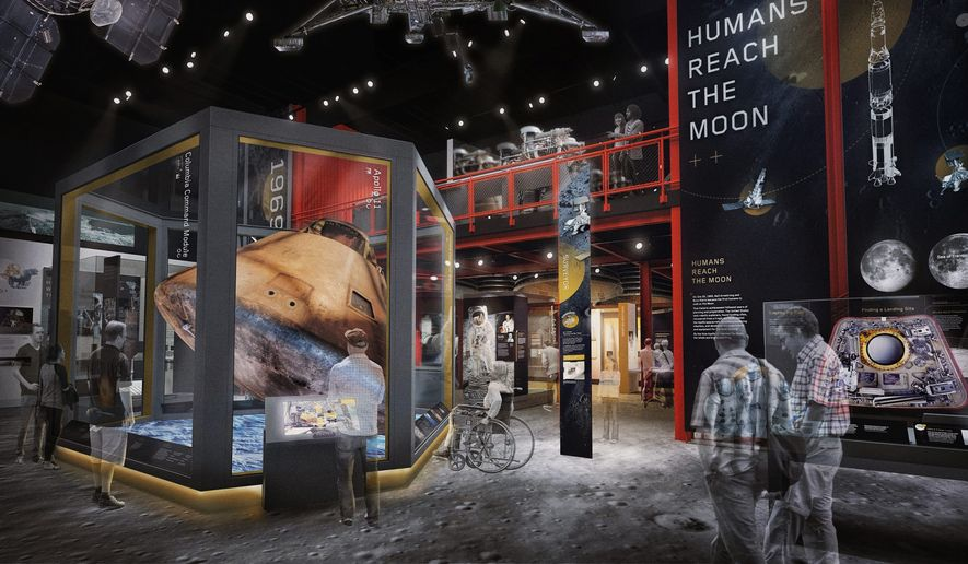 """This digital rendering shows what the National Air and Space Museum's moon exploration exhibit, """"Destination Moon,"""" will look like after opening in 2022. This new exhibit will update and replace the 1976 """"Apollo to the Moon"""" display, which closed last year. (Smithsonian National Air and Space Museum)"""