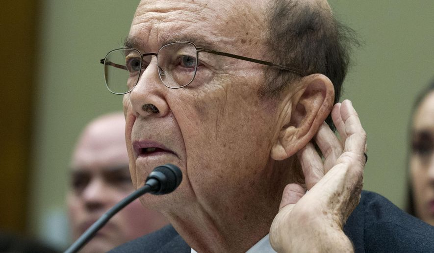 "In this March 14, 2019 file photo Commerce Secretary Wilbur Ross testifies during the House Oversight Committee hearing on Capitol Hill in Washington. Appearing on the Fox Business Network on July 26, 2019, Mr. Ross blasted Democrats as ""the enemy"" who are hoping for the U.S. economy to fall into a ""recession"" on President Trump's watch. (AP Photo/Jose Luis Magana, File)"