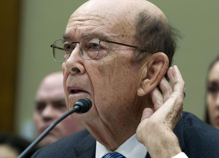 """In this March 14, 2019 file photo Commerce Secretary Wilbur Ross testifies during the House Oversight Committee hearing on Capitol Hill in Washington. Appearing on the Fox Business Network on July 26, 2019, Mr. Ross blasted Democrats as """"the enemy"""" who are hoping for the U.S. economy to fall into a """"recession"""" on President Trump's watch. (AP Photo/Jose Luis Magana, File)"""