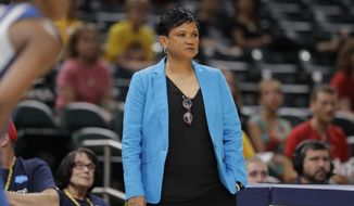 Indiana Fever head coach Pokey Chatman watches during the first half of a WNBA basketball game against the Minnesota Lynx, Tuesday, June 25, 2019, in Indianapolis. (AP Photo/Darron Cummings)