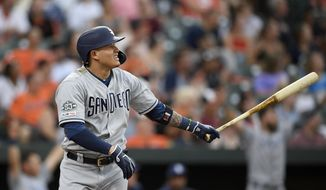San Diego Padres' Manny Machado watches his home run during the third inning of a baseball game against the Baltimore Orioles, Tuesday, June 25, 2019, in Baltimore. (AP Photo/Nick Wass)