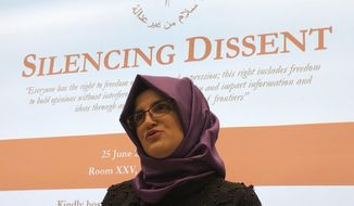 "Hatice Cengiz is pictured at the U.N.-backed Human Rights Council in Geneva, Switzerland, Tuesday, June 25, 2019. The fiancee of slain Saudi journalist Jamal Khashoggi has taken her campaign for justice over his grisly slaying to the U.N.'s top human rights body and urging the United Nations to take ""the next step"" following a blistering report from an independent investigator. Hatice Cengiz, a Turkish citizen, says she hasn't gotten over the Oct. 2 killing of the Washington Post columnist at the Saudi consulate in Istanbul. (AP Photo/Jamey Keaten)"