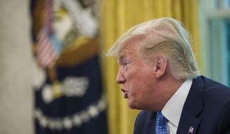 President Donald Trump speaks as he receives an an update on the Fentanyl epidemic, in the Oval Office of the White House in Washington, Tuesday, June 25, 2019. (AP Photo/Alex Brandon)