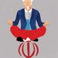 Illustration on calm over Iran by Linas Garsys/The Washington Times