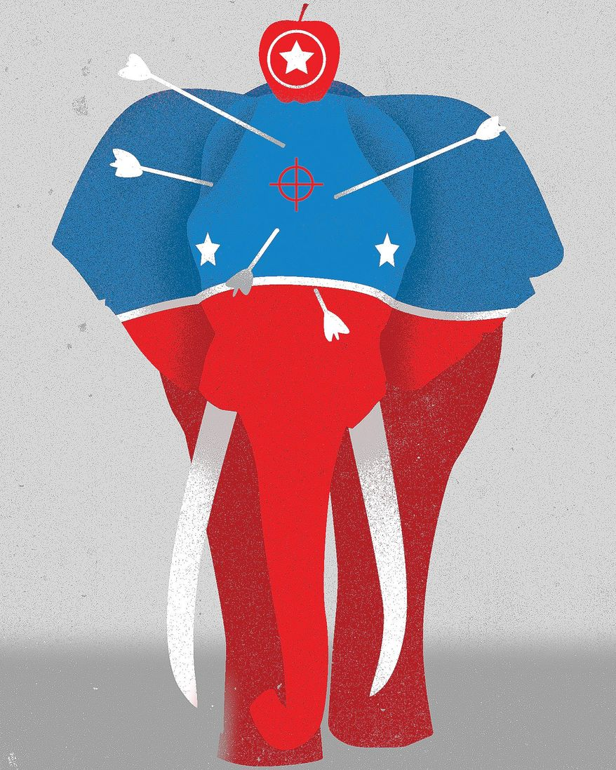 Illustration on political attacks on Republicans by Linas Garsys/The Washington Times