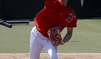 Los Angeles Angels' Shohei Ohtani throws in the bullpen before a baseball game against the Cincinnati Reds in Anaheim, Calif., Wednesday, June 26, 2019. Ohtani threw off a mound for the first time since Tommy John surgery Oct 1, 2018. (AP Photo/Chris Carlson)