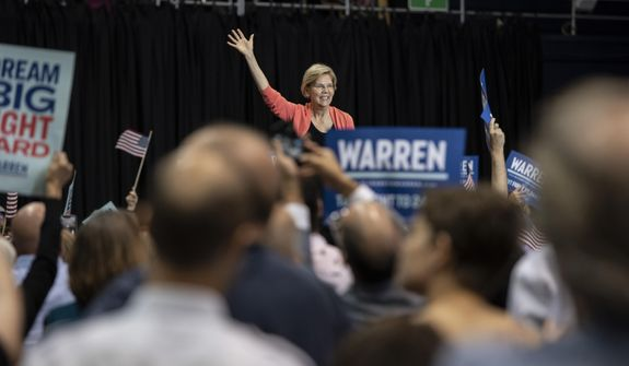 Democratic presidential candidate Sen. Elizabeth Warren, D-Mass., holds a town hall on the Florida International University campus on Tuesday, June 25, 2019, in Miami. (Jennifer King/Miami Herald via AP)