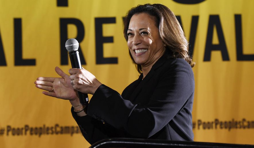 In this June 17, 2019, file photo, Democratic presidential candidate Sen. Kamala Harris, D-Calif., speaks at the Poor People's Moral Action Congress presidential forum in Washington. (AP Photo/Susan Walsh, File)