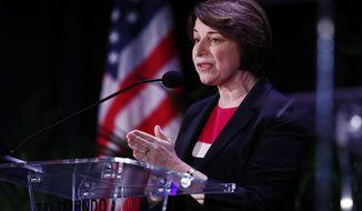 Democratic presidential candidate Sen. Amy Klobuchar, D-Minn., speaks during a forum on Friday, June 21, 2019, in Miami. (AP Photo/Brynn Anderson)