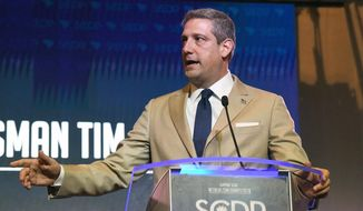 Ohio Democratic congressman and 2020 presidential contender Tim Ryan addresses the South Carolina Democratic Party Convention, Saturday, June 22, 2019 in Columbia, S.C.. (AP Photo/Meg Kinnard)