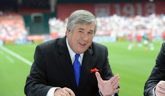 "In this June 2, 2013, photo provided by ESPN Images, Bob Ley talks during an international friendly soccer match in Washington, D.C. Ley, an anchor at ESPN since the network's launch 40 years ago, has announced his retirement.Ley was ESPN's longest-tenured anchor, joining ""SportsCenter"" on the channel's third day of operation on Sept. 9, 1979. He hosted ""Outside The Lines,"" an investigative news program, from its launch in 1990 until he took a sabbatical last September. The 64-year-old Ley tweeted Wednesday, June 26, 2019, that he's enjoying the ""best of health"" and that the decision to retire was ""entirely"" his own. (Allen Kee/ESPN Images via AP)"