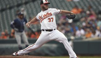 Baltimore Orioles pitcher Dylan Bundy delivers against the San Diego Padres in the first inning of a baseball game Wednesday, June 26, 2019, in Baltimore. (AP Photo/Gail Burton)