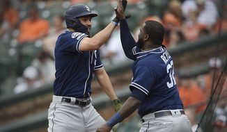 San Diego Padres' Eric Hosmer, left, is congratulated by Franmil Reyes after hitting a two run home run against the Baltimore Orioles in the sixth inning of a baseball game Wednesday, June 26, 2019, in Baltimore. (AP Photo/Gail Burton)