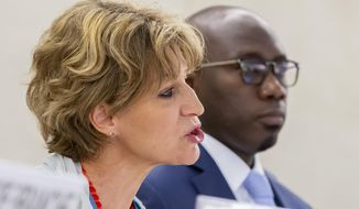 Agnes Callamard, left, UN Special Rapporteur on extrajudicial, summary and arbitrary executions, next to Coly Seck, President of the Human Rights Council, while presenting the main findings of the inquiry into the killing of Saudi journalist Jamal Khashoggi, during the 41th session of the Human Rights Council, at the European headquarters of the United Nations in Geneva, Switzerland, on Wednesday, June 26, 2019. (Magali Girardin/Keystone via AP)