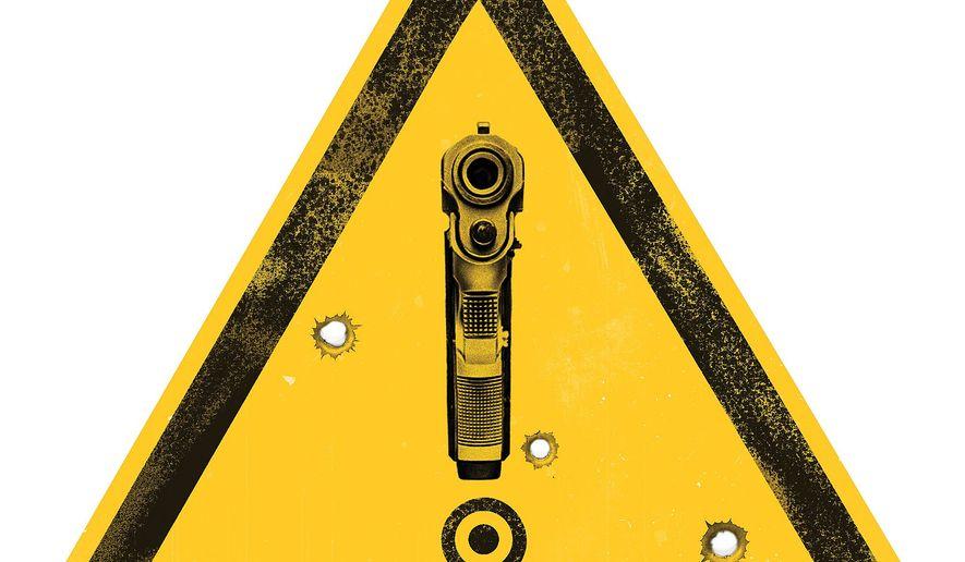Illustration on gun laws by Linas Garsys/The Washington Times
