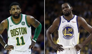 At left, in a March 20, 2019, file photo, Boston Celtics' Kyrie Irving is shown during an NBA basketball game against the Philadelphia 76ers in Philadelphia. At right, in a May 8, 2019, file photo,  Golden State Warriors' Kevin Durant is shown during the first half of Game 5 of the team's second-round NBA basketball playoff series against the Houston Rockets in Oakland, Calif. Rarely relevant at the same time on the basketball court, the Knicks and Nets are front and center in the free agency race, two of the teams best positioned to make a splash when the market opens.Both can afford two top players, with hopes of landing not only a Kevin Durant or Kyrie Irving, but possibly even both. (AP Photo/File) **FILE**