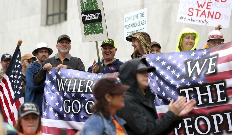 Protesters converge outside the Oregon state Capitol in Salem, Ore. on Thursday, June 27, 2019. Truckers, loggers and farmers say they support the 11 Republican senators who walked out over a week ago to avoid a vote on climate legislation. (Michaela Roman/Statesman-Journal via AP) ** FILE **