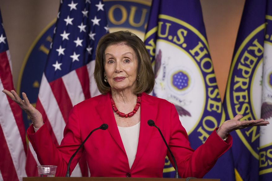 House Speaker Nancy Pelosi of Calif., speaks during her weekly media availability on Capitol Hill, Thursday, June 27, 2019 in Washington. (AP Photo/Alex Brandon)