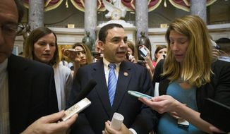 Rep. Henry Cuellar, D-Texas, talks with reporters after a meeting with House Speaker Nancy Pelosi of Calif., on Capitol Hill, Thursday, June 27, 2019, in Washington. (AP Photo/Alex Brandon) ** FILE **