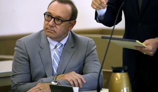 FILE - In this June 3, 2019 file photo, actor Kevin Spacey attends a pretrial hearing at district court in Nantucket, Mass. He is accused of groping the teenage son of a former Boston TV anchor in 2016 in the crowded bar at the Club Car in Nantucket. On Wednesday, June 26, a civil lawsuit was filed by the man who claims Spacey groped him. (AP Photo/Steven Senne, File)