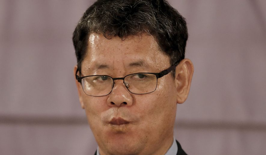 In this Wednesday, June 26, 2019, photo, South Korean Unification Minister Kim Yeon-chul listens to a question during a group interview at a hotel in Seoul, South Korea. The U.S. and North Korea both feel the need to resume diplomacy and are trying to narrow their differences for new summit talks, Kim said as he contrasted their efforts with the tensions surrounding Iran's collapsing nuclear accord. (AP Photo/Ahn Young-joon)