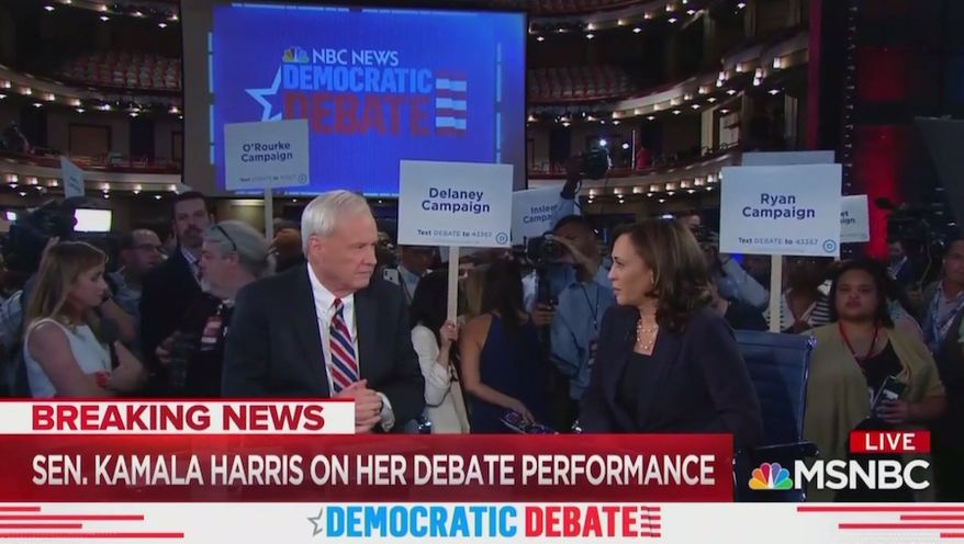 "MSNBC's Chris Matthews talks with Sen. Kamala Harris on June 27, 2019, about her debate performance. The ""Hardball"" host wanted to know how the California Democrat could go through life without ""hatred"" for white people. (Image: MSNBC screenshot)"